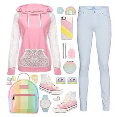 """Pink Hoodie"" by pink-quartz ❤ liked on Polyvore featuring Big Bud Press, Casetify, Converse, 7 For All Mankind, The Horse, Essie, Madewell, Pink, backpack and pasteljeans"