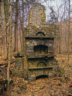 "Pillar, by Nicholas A Tonelli. ""Discovered while hiking in the woods along Devil's Hole Creek, Monroe County, within State Game Land 221.  The ruins are of a hunting lodge built early in the last century, according to my hiking guidebook. Supposedly the lodge became a speakeasy during Prohibition."" Abandoned Mansions, Abandoned Buildings, Abandoned Places, Abandoned Castles, Beautiful Ruins, Beautiful Places, Wonderful Places, Famous Castles, Places To Go"