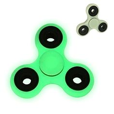 SEENFUN Luminous Tri-Spinner Fidget Toy Stress Reducer Relief EDC ADHD Autism Finger Toy for Killing Time Gray-White