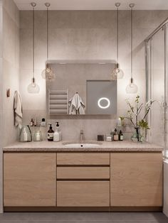 Scandinavian Style Interior Infused With Garden Greenery Contemporary Interior Design, Contemporary Bathrooms, Modern Bathroom, Interior Design Living Room, Scandinavian Apartment, Scandinavian Style, Wooden Vanity Unit, Veranda Interiors, Mint Bathroom