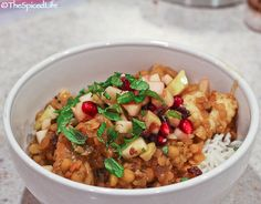 Curried Red Lentils and Split Peas with Mixed White Fish and an Apple Pomegranate Relish