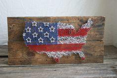 Zeichenfolge Kunst 24 x 12 USA Karte mit von RambleandRoost auf Etsy