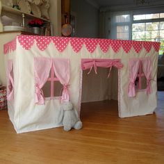 Are you interested in our Play House? With our Fabric Playhouse you need look no further. Card Table Playhouse, Indoor Playhouse, Build A Playhouse, Sewing For Kids, Diy For Kids, Crafts For Kids, Cubby Houses, Play Houses, Table Tents