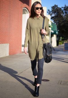 Army green camisole + ripped black skinny jeans + black booties