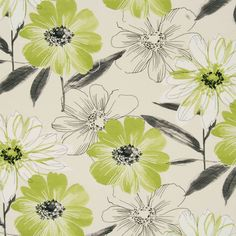 Isabella Lime Floral Curtain Fabric   Cheap Printed Curtain Fabric Green   UK Delivery