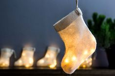 This Christmas Stocking Light is made from very soft natural felted wool, gives warm and golden light. Light Decorations, Christmas Decorations, Holiday Decor, Light Garland, Wool Felt, Felted Wool, Fairy Lights, Lamp Light, Christmas Stockings