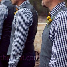 Gingham groomsmen. No vests, except for Mark.