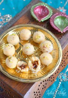 Coconut Khoya Gulkand Ladoo (Laddu) Recipe   Diwali Sweets Recipes ~ Indian Khana