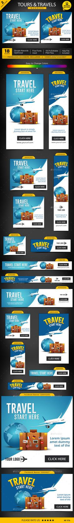 Tours & Travels Web Banners Template PSD #design Download: http://graphicriver.net/item/tours-travels-banners/14375409?ref=ksioks
