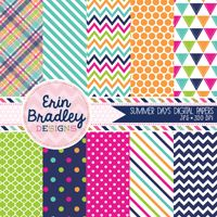 Summer Days Digital Paper Pack in Pink Navy Blue Green & Orange Plaid Striped Chevron Triangle Polka Dotted Patterns