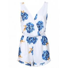 Choies White Plunge Neck Sleeveless Floral Romper Playsuit ($16) ❤ liked on Polyvore featuring jumpsuits, rompers, white, sleeveless rompers, white rompers, flower print romper, plunge neck romper and playsuit romper