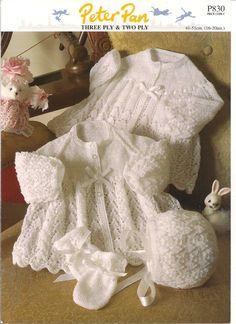 Peter Pan Jacket Bonnet Mitts 3 ply & 2 ply Baby Knitting Pattern