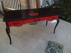 Gothic Red Black Provincial Victorian desk. Idea for painting the drawers on my desk