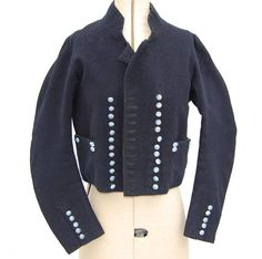 Sailor's Jacket of Blue Serge, ca. 1805. Worn by John Ayres of St.James, Norwich. He donned this jacket each year on Trafalgar Day. Collections of Norwich Castle and Art Gallery.