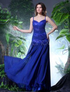 Sheath Royal Blue Straps Neck Sequin Chiffon Prom Dress