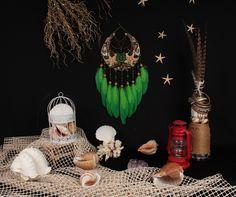 Green Moon, Mermaid Wall Hanging, Valentine's day gift, bohemian wall decor, beachy dreamcatcher she Bohemian Wall Decor, Bohemian Design, Hippie Art, Boho Hippie, Moon Dreamcatcher, Green Moon, Mosaic Glass, Valentine Day Gifts, Mermaid