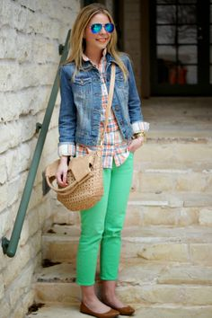 Denim Jacket Outfit Idea: over striped shirt with bright jeans and flats  Grabbing for Green - Because Shanna Said So