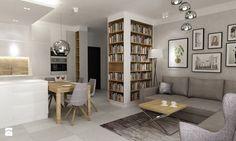Mieszkanie 70m2 Ursynów - Średni salon z bibiloteczką z kuchnią z jadalnią, styl nowoczesny - zdjęcie od Grafika i Projekt architektura wnętrz