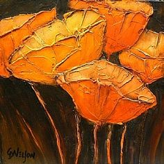 Golden Poppies 1, 9102 by Carol Nelson Acrylic ~ 6 x 6