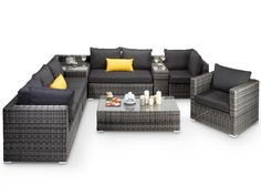 Beautiful, Large Grey Rattan Corner Sofa Available Now. Ready for Summer!