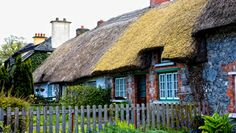 'Cottages with thatched roofs seen in County Limerick,. 'Cottages with thatched roofs seen in County Limerick,… Limerick Ireland, Limerick City, Moving To Ireland, Ireland Travel, Irish Limericks, Travel Around The World, Around The Worlds, Adare Manor, Thatched Roof