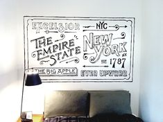 New York's Ace Hotel asked artist Dan Cassaro to create a fun mural for one of its rooms. Cassaro, a freelance designer, animator and print-maker living and working in Brooklyn, happily obliged and used his typography skills to create this quality piece that's a perfect fit with the hotel's trademark style.