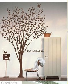 Lovely  Tree Decals- Wall Decals Wall Sticker s tree decals, murals. $72.00, via Etsy.  This would make a good family tree.  A name on each little leaf.