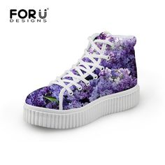 Fashion Women Platform Leisure Shoes Purple Flower Printing High Top Lace-up Ladies Casual Flat Thick Bottom Shoes Zapatos