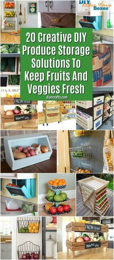 20 Creative DIY Produce Storage Solutions To Keep Fruits And Veggies Fresh. These kitchen and organizational hacks are great for your home. Try making your own diy produce storage solutions for your fruits and veggies! Produce Storage, Fruit Storage, Small Storage, Diy Storage, Storage Ideas, Storage Hacks, Food Storage, Cheap Storage, Kitchen Vegetable Storage