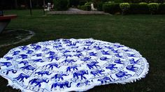 Blue white elephant roundie bedspread beach throw table cloth – TheNanoDesigns