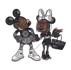 by Mago Dovjenko Minnie Y Mickey Mouse, Mickey Mouse And Friends, Rihanna, Mouse Illustration, Black Anime Characters, Hip Hop Art, Street Graffiti, Character Drawing, Grafik Design