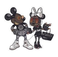 Mickey & Minnie Mouse X Asap Rocky & Rihanna – Ilustración por Mago