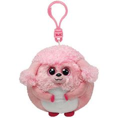 ce5a8609d46 TY Beanie Ballz - LOVEY the Pink Poodle (Plastic Key Clip - 2.5 inch)