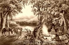 Gallery: Scouts, Frontiersmen, Trappers & Traders Trappers campfire, 1866  Trappers campfire, by Currier and Ives, 1866