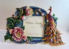 Vntge Ornate ENAMEL & CZECH CRYSTALS PHOTO PICTURE FRAME PEACOCK &…