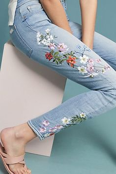 Slide View: 7 For All Mankind Mid-Rise Embroidered Skinny Ankle Jeans Outfit Jeans, Jeans Outfit Summer, Summer Jeans, Women's Jeans, Jeans Dress, Pants, Painted Jeans, Painted Clothes, Diy Fashion