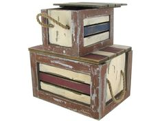 Set of Wood Nautical Boxes with Rope Handles