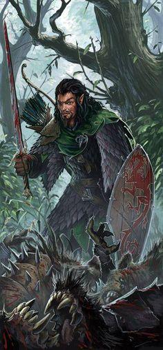 m Half Elf Ranger lvl Med Armor Shield Sword Deciduous Forest wilderness evil Plants story Fantasy Heroes, World Of Fantasy, High Fantasy, Fantasy Warrior, Fantasy Rpg, Fantasy Artwork, Fantasy Characters, Fantasy Scout, Medieval Art