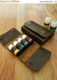 15ml x 4 Essential Oil Leather Case by SpotlessLion on Etsy