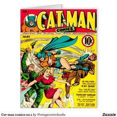 #vintagecomicbooks #catman #geek #comics #dccomics #marvel #avengers #greeting card  Cat-man comics no.1 large greeting card