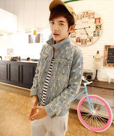 Mens Denim Jacket British Style Autumn Jackets Long Sleeve Pockets Lapel Denim Top Fitted Jackets M-XL Discount Online Shopping