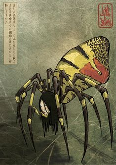Jorōgumo is a type of Yōkai, a creature, ghost or goblin of Japanese folklore. According to some stories, a Jorōgumo is a spider that can change its appearance into that of a seductive woman. Japan Illustration, Mythological Creatures, Mythical Creatures, Japanese Yokai, Spider Art, Japanese Horror, Japanese Monster, Japanese Mythology, Art Asiatique