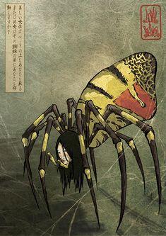 Illustration Japan Yôkai, Jorogumo 絡新婦, by Gosh & Seiko (http://tchagata.com/games/nandeyanen/)
