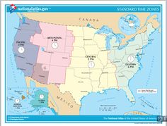 US time zones printable map UStimezonemap Prime Meridian Day