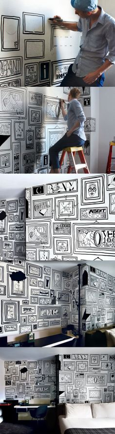 Timothy Goodman, designer #drawonwall He uses only one magic pen.. he made amazing art piece on the wall.
