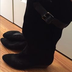 """Nine West Black Suede Size 9 slouch boots Good used condition boots, black Nine West boots with adjustable buckle. Slip on boots, slouch style, suede with 2"""" wedge. Nine West Shoes Over the Knee Boots"""