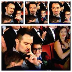 Ramin Karimloo shushing the crowd applauding him at the Tony Awards because his son Hadley is sleeping-- HOW CUTE IS THIS PHOTOSET.