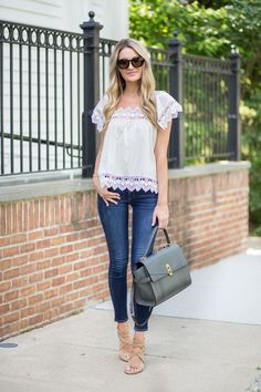 White Lace Trim Top
