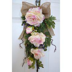 Spring Wreath Rustic Teardrop Wreath Pink Peonies by Hobby4Crafts