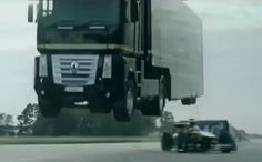 Giant truck jumps over Formula One car – Video | PTV Sports